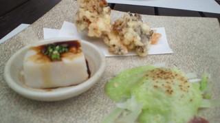 六本木農園 里芋プリン、マイタケの天ぷら、白菜のグラタン.jpg