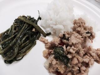 空芯菜炒め、鶏肉バジル炒め.JPG